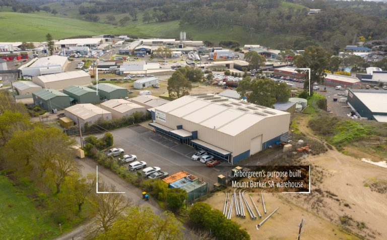 A birds eye view of Arborgreen's warehouse at Mount Barker South Australia - August 2019